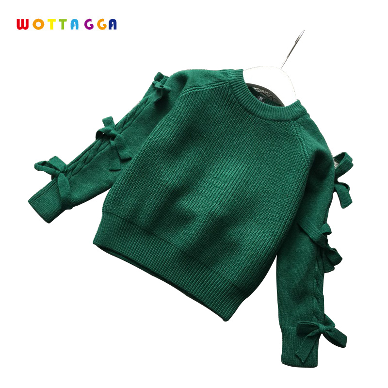 WOTTAGGA Girls Sweaters Velvet Plus Solid Warm Rabbit Kids Knitted Sweaters O-neck Long Sleeve Fashion 3-7Y Wholesale Winter choker neck trumpet sleeve velvet top