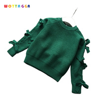 WOTTAGGA Girls Sweaters Velvet Plus Solid Warm Rabbit Kids Knitted Sweaters O-neck Long Sleeve Fashion 3-7Y Wholesale Winter