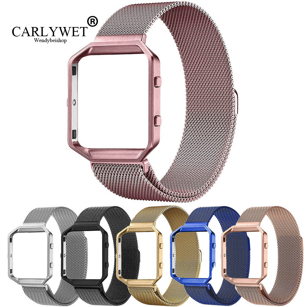 CARLYWET Mesh Milanese Stainless Steel Watch Strap Belt Bracelet Magnetic Closure With Metal Frame For Watch Fitbit Blaze 23 vik max adult kids dark blue leather figure skate shoes with aluminium alloy frame and stainless steel ice blade