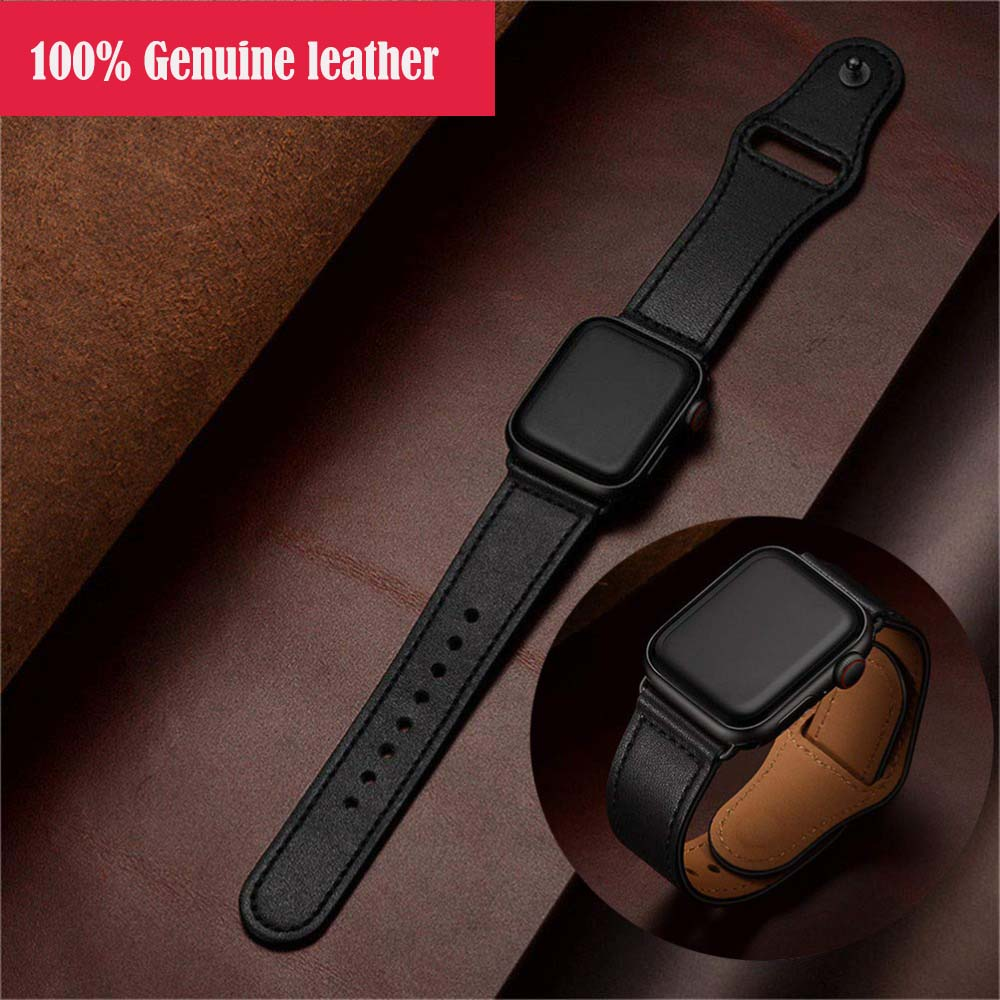 Loop-Strap Wristband Watch Apple 100%Genuine-Leather for 42mm 44mm 38mm 40mm 4/3/2/1-bracelet