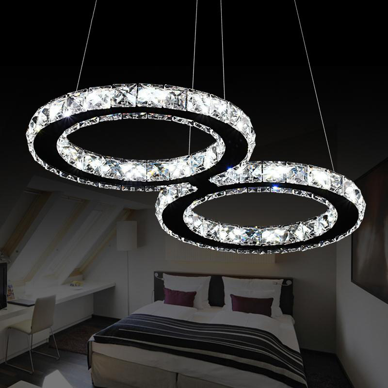 ФОТО LED restaurant pendant lamp 24W creative crystal cord pendant lighting fixture 110V / 230V