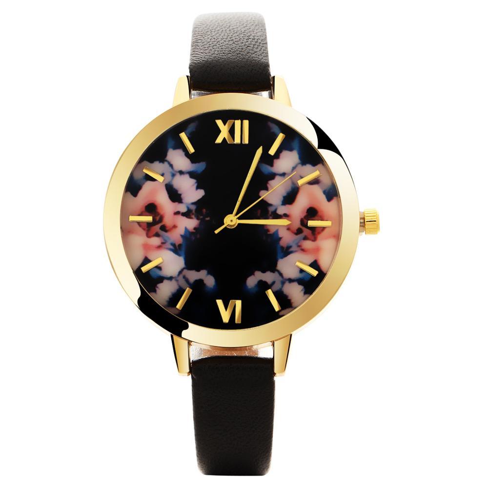 MINHIN Wholesale 8 Colors Fashion Gold Leather Watches Women Flowers Dial Casual Dress Quartz Wristwatches Relogio Feminino
