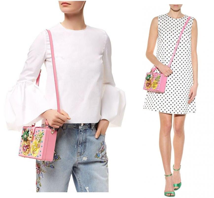 Luxury Designer Handbag Genuine Leather Women Pineapple Embellished Box Tote Bag (7)