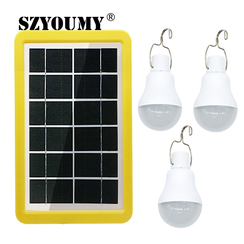 SZYOUMY Solar Power Outdoor Light 1 To 3 15W Solar Lamp Portable Bulb Solar Energy Lamp Led Lighting Solar Panel Camp Tent Light
