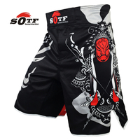 SOFT Opera Mask Chinese Wind Breathable Fitness Training Battle Mma Shorts Tiger Muay Thai Boxing Shorts