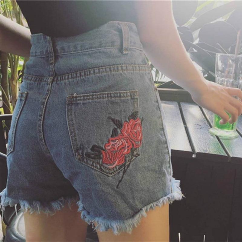 Frauen Harajuku Lose Shorts Sommer 2018 Neueste Zerrissene Retro Rose Stickerei Blumen Hohe Taille Zwei Taschen Denim Shorts