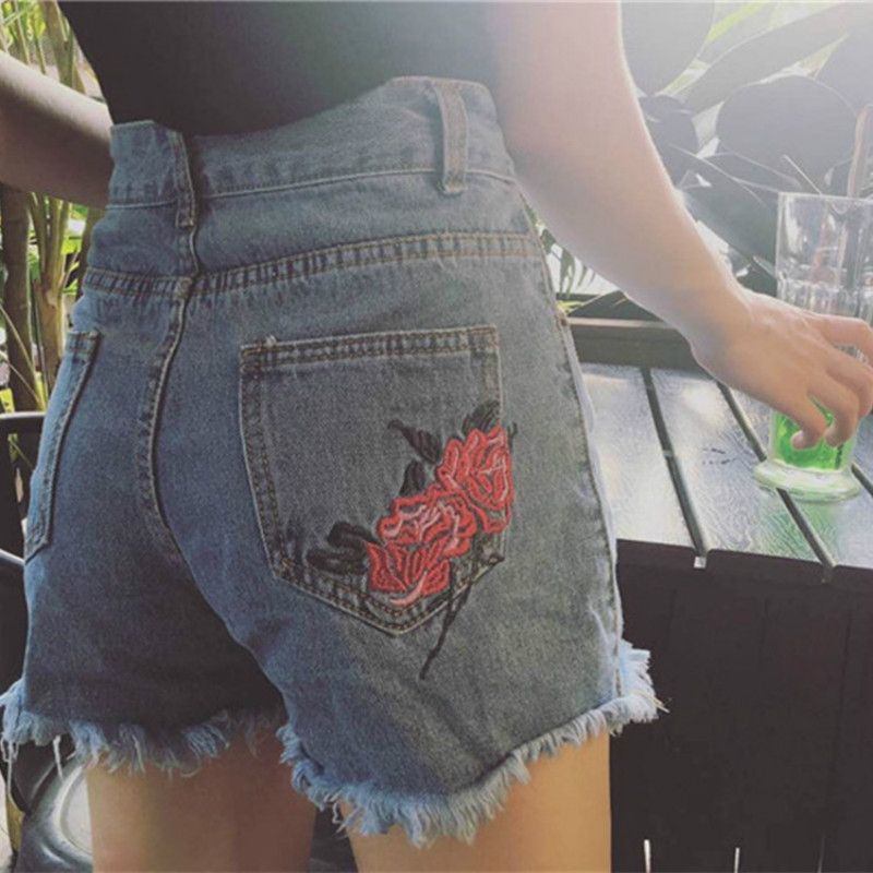 Women Harajuku Loose   Shorts   Summer 2018 Latest Ripped Retro Rose Embroidery Flowers High Waist Twin Pockets Denim   Shorts
