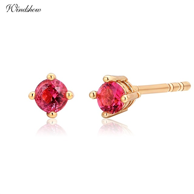 9c629d243 Yellow Gold Color Four Claw Round Hot Pink CZ Mini Small Stud Earrings For  Womens Kids