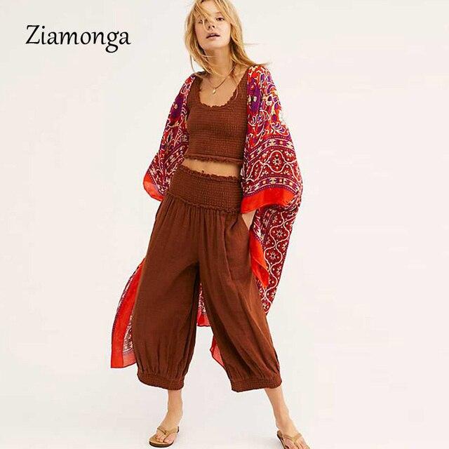 Ziamonga Bohemian Irregular Printed Kimono Cardigan 2019 Summer Women Blusas Vintage Loose Boho Blouse Shirts Long Beach Top