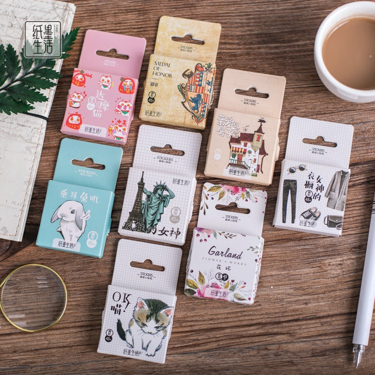 45Pcs/box Cute Kawaii Urban Life Papers Stickers Flakes Romantic Love For Diary Decoration Diy Scrapbooking Stationery Sticker
