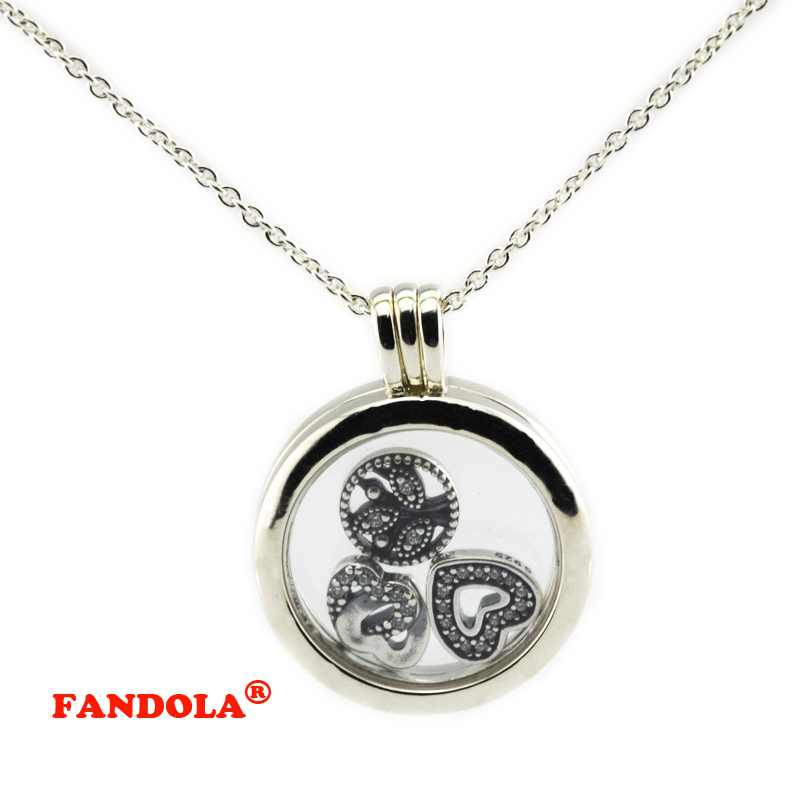 60 CM chaîne 925 Sterling-argent-bijoux moyen flottant médaillon pendentif collier Compatible avec l'europe livraison gratuite FLN027A