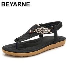 BEYARNE sıcak kadın sandalet rahat kadın ayakkabı Bohemia düz sandalet Flip Flop plaj ayakkabısı kadın Sandalie kadın konfor ShoesE654