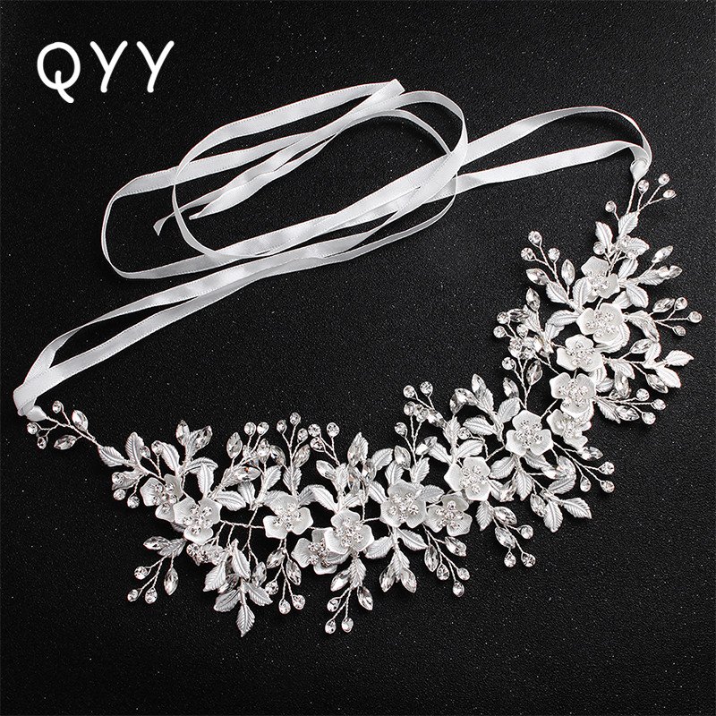 Fashion White Flowers Crystal Handmade Headband Wedding Hair Jewelry Accessories Headpieces Princess Tiaras and Crown
