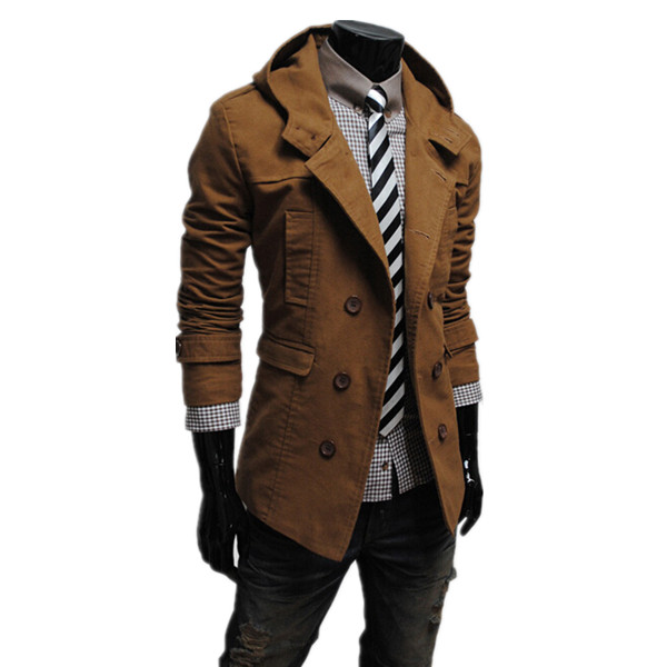 e9ec2a5d 2016 New Sale Autumn And Winter Mens Trench Coat Double-Breasted Design  Hooded Trench Coat Solid Slim Men Casual Jacket