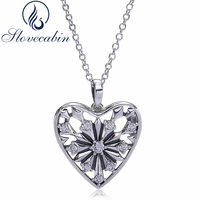 Slovecabin Autumn Authentic 925 Sterling Silver Snowflake Love Choker Women Necklaces Heart Pendant Chain Statement Necklaces