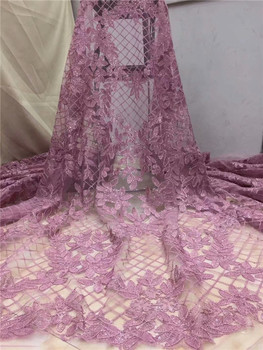 African Lace Fabric 2019 High Quality Lace With sequins Fashion French Tulle Lace Fabric For Party Dresses pink green white