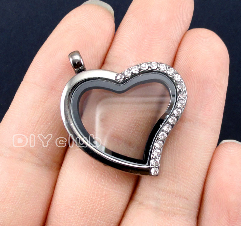 2pcs-Gun Black Heart Shape Floating Locket with Rhinestone, Glass locket pendant, Memory Lockets for necklace 31x29mm