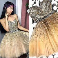 Champagne Short Homecoming Dresses for Girls Sequin Tulle Women Cocktail Prom Grade 8 Graduation Dresses