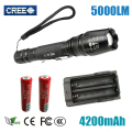 LED Flashlights Torch 5000 lumen CREE XM-L T6 zoomable led torch use 2x18650 batteries aluminum led flashlights linternas Z30