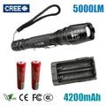 LED Flashlights Torch 5000 lumen CREE XM-L T6 zoomable led torch use 2x18650 batteries aluminum led flashlights linternas Z30