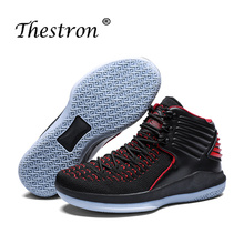 2019 Thestron Men Basketball Boots Big Shoes Size 38-47 Professional SportTop Sneakers Boys Black