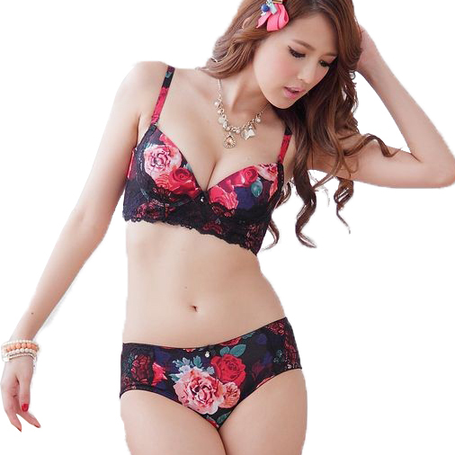 83acdf3530 Women Intimates Lace Flower Printed Bra   Brief Sets Sexy Vintage Underwear  Push Up 2015 New Chinese Style wholesale-in Bra   Brief Sets from Underwear  ...