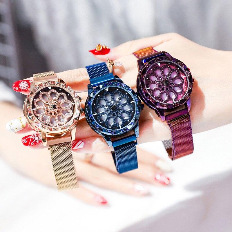 Hot Women 360 Degree Rotation Watches Luxury Gold Diamond Magnet Starry Sky Ladies Watch Fashion Geometric Quartz Wrist Watch
