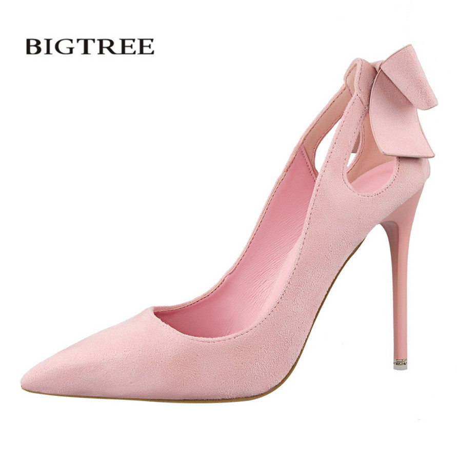 BIGTREE Spring Women Sweet Pumps Bow Thin High Heels Shoes Suede High-heeled Pointed Hollow Sandals Elegant Stiletto G3168-1 lakeshi new fashion pumps thin sexy high heeled shoes woman pointed suede hollow out bowknot sweet elegant women shoes