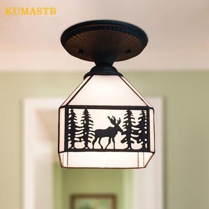 Здесь можно купить  American Style Country Small Fawn Ceiling Lights Aisle Balcony Entrance Glass Lampshade Ceiling Lamps  Свет и освещение
