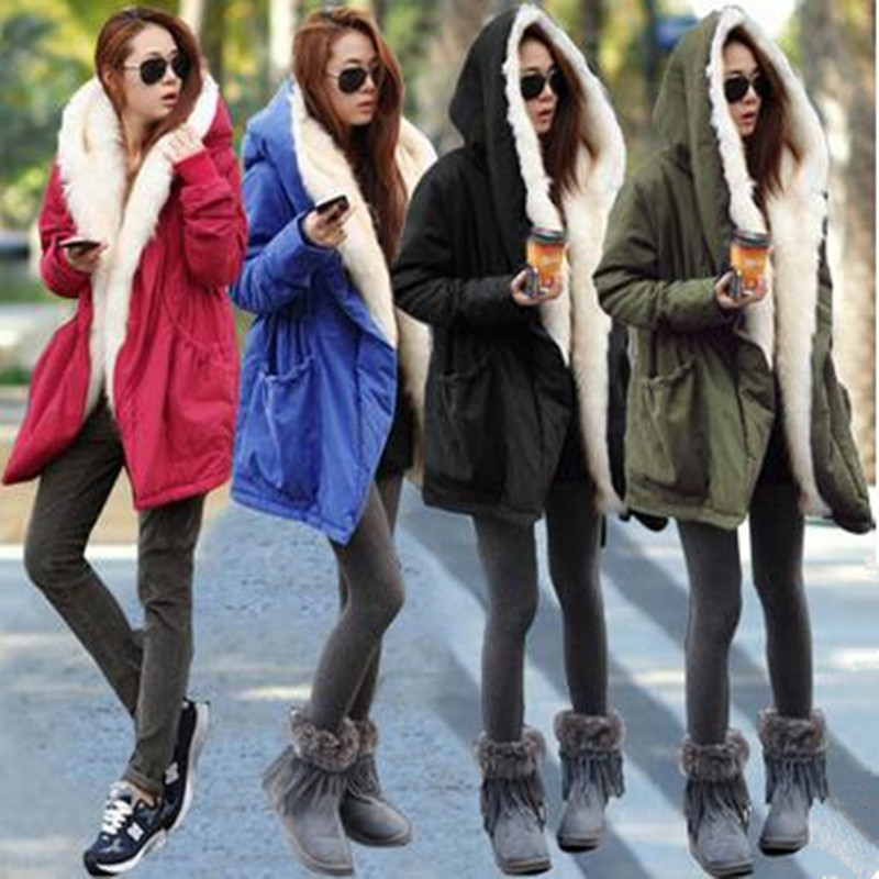 2016 New Women Winter Army Green Jacket Coats Overcoat Thick Parkas Plus Size Real Raccoon Fur Collar Hooded Outwear women winter army green jacket coats thick parkas plus size fur collar hooded cotton outwear winter jackets women 6 colors c1690