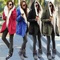2016 Nuevo Invierno de Las Mujeres Verde Del Ejército Abrigos Chaqueta Abrigo Grueso Parkas Plus Tamaño Real Cuello de piel de Mapache Con Capucha Outwear