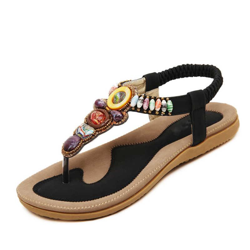 BEYARNE Frau Sandalen Perle Bohemien Clip Kappe Komfortable Tanga Schuhe Boho Elastische Band Zurück Strap Flache Strand Schuhe Plus Größe 41