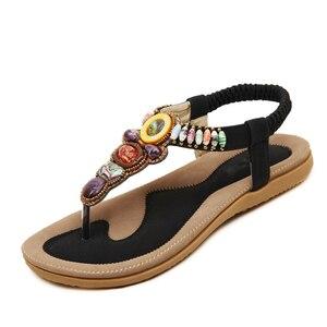Image 2 - BEYARNE Woman Sandals Bead Bohemian Clip Toe Comfortable Thong Shoes Boho Elastic Band Back Strap Flat Beach Shoes Plus Size 41