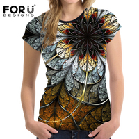 FORUDESIGNS Vintage 3D Flower T Shirt Women Summer Casual T Shirt O Neck Short Sleeved Feminine