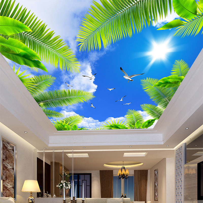 Custom 3D Ceiling Mural Photo Wallpaper Living Room Theme Hotel Ceiling Wall Decor Blue Sky White Clouds Beach Tree Wall Papers