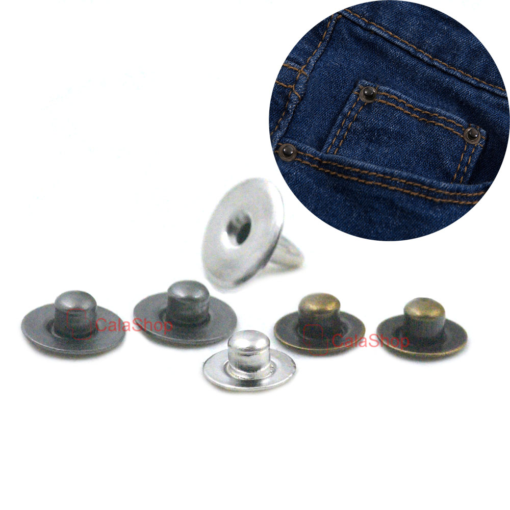 8mm Jeans 50 Pcs Lot 8mm Rivet Fastener Stud Buttons Jean Pants Denim Garment Leather Craft Bag Sewing Clothes Accseeories