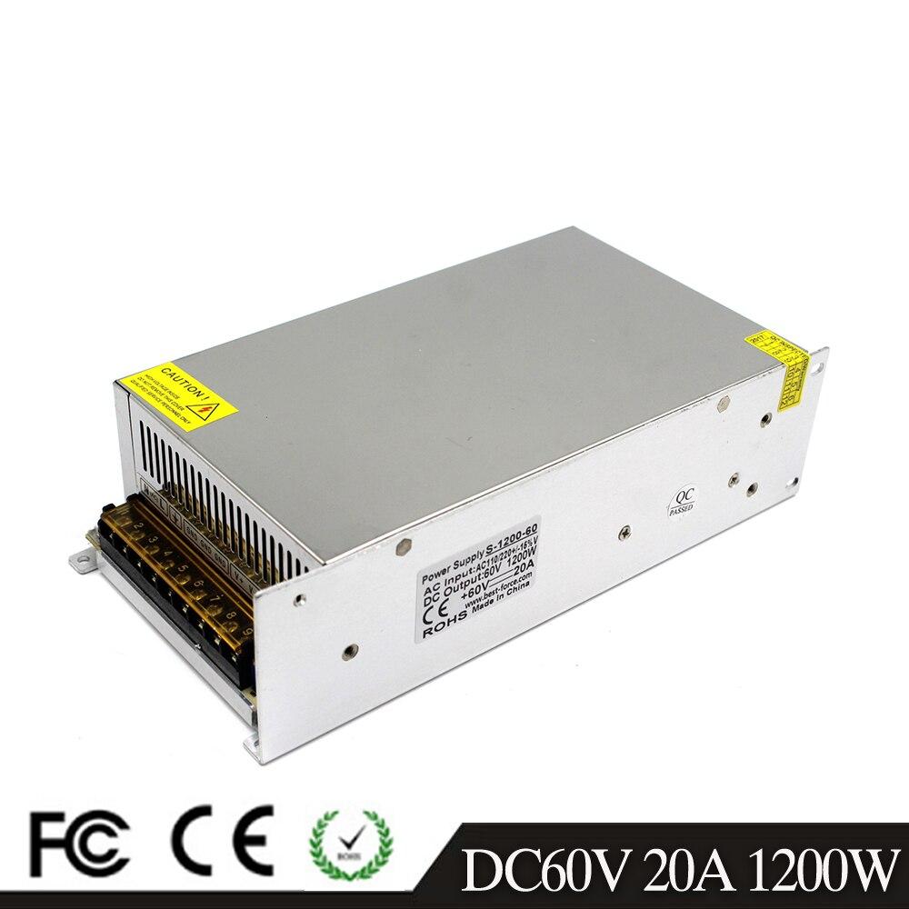 Regulated DC 60V 20A 1200W Power Supply Switch Driver Transformer 110 220V AC DC60V USP for