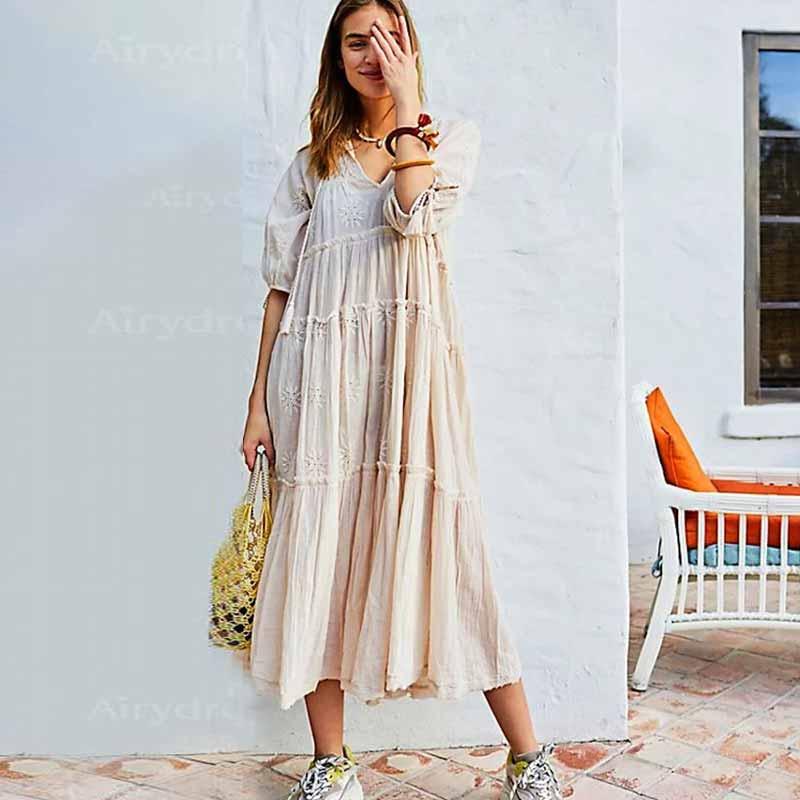 BOHO inspiré des femmes broderie robe col en v coton boho robe à plusieurs niveaux longue robe décontracté lâche fit robe pour les femmes 2019