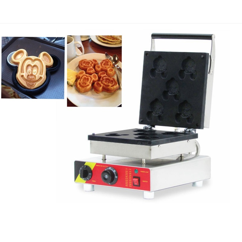 110V/220V EU/AU/UK/US Cartoon Mickey Mouse Waffle Maker Non stick Commercial 5pcs Electric Cute Shape Waffle Machine