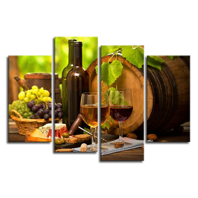 Kitchen Wall Art Canvas Prints Grapes Wines Fruits Painting Print On Canvas    4 Piece Canvas Art Artwork For Dining Room Decor