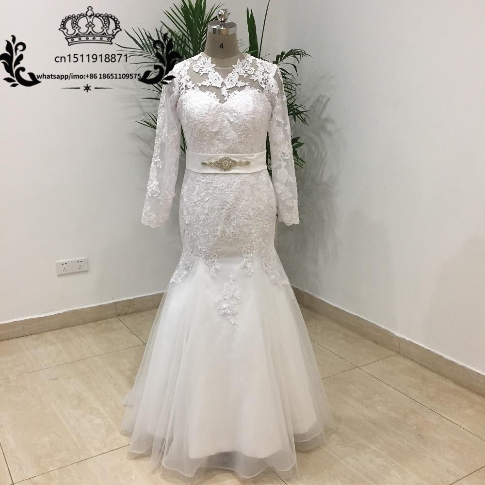 White Lace Mermaid Gown: Elegant White Lace Mermaid Wedding Dresses Long Sleeve