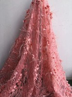 Wedding lace Fabric2018latest African Artificial feather lace Mesh with beads lace Fabrics for Wedding dresses NX688v Pink