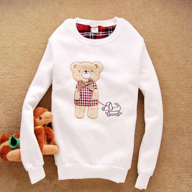 Free Shipping,2013 New Women Casual Long Hoodies/pullover,women's Jacket Ladies Bear Casual Cute Warm Hoodie/sweatshirts,4colors