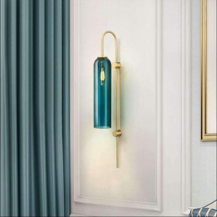 nordic criativo azul tubo de vidro sala de estar quarto estudo lampada de parede de cabeceira