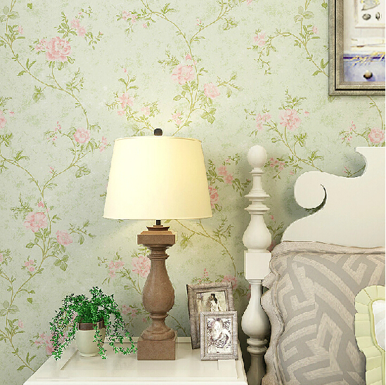 American vintage floral wallpaper pvc waterproof 3d mural for Waterproof wallpaper for home