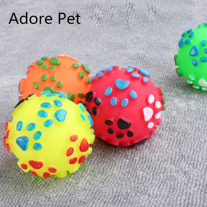 Love Pet Store New Hot Ball Shape Footprint Pattern Pet Dog Toys Rubber Squeak Toys For Dog Chew Randomly Colors Diameter 2.8 inch