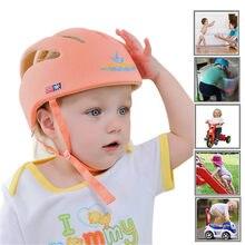 Capacete do bebê chapéu de segurança de proteção anti-colisão infantil criança andando proteção macio algodão malha chapéu recém-nascido cabeça pára-choques