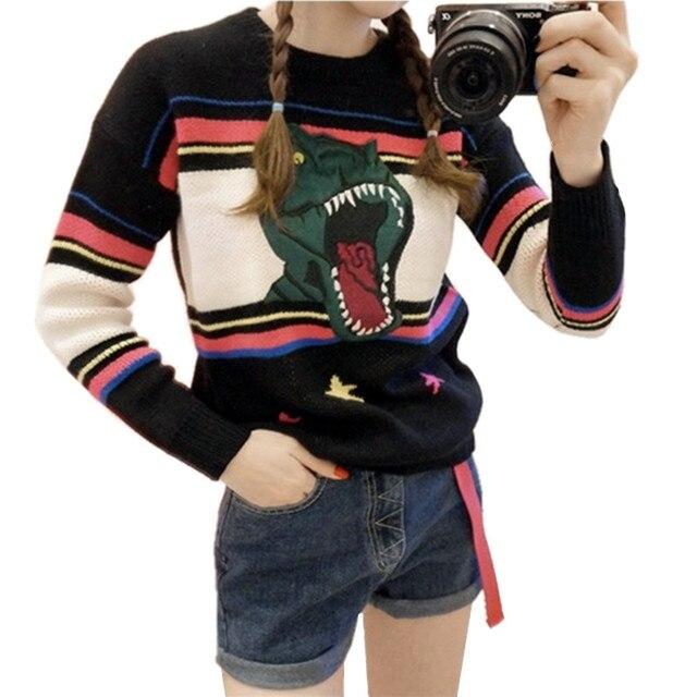 Пуловеры Женщин Осень Зима 2016 Vintage Повседневная Динозавров Вышивка Узоры Вязаные Свитера