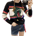 Pullovers Women Autumn Winter 2016 Vintage Casual Dinosaur Embroidery Patterns Knitted Sweaters