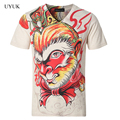 2016 New Summer Mens V Neck Short Sleeve T Shirt Chinese Style Casual T Shirt Men Fashion Monkey King Slim Fit Mens T Shirt 5XL